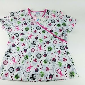 Scrubs Women's Large Multi-Color Breast Cancer top